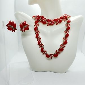 Vintage Charel signed Red Thermoset Parure